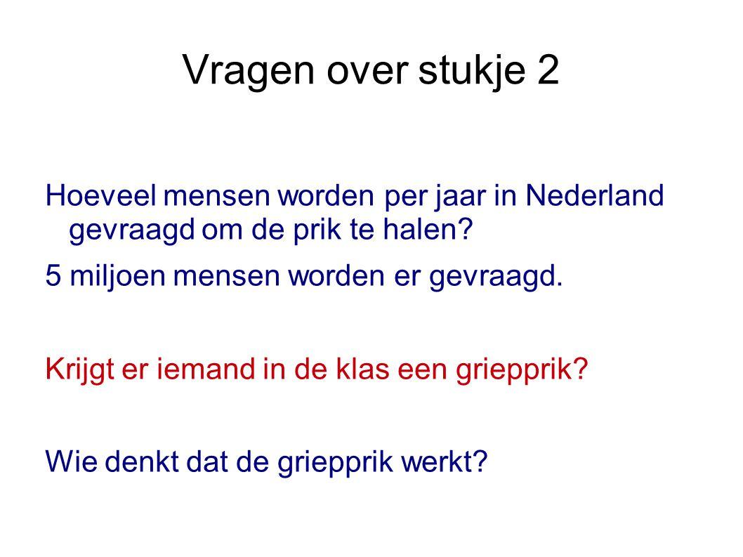 Vragen over stukje 2 Hoeveel mensen worden per jaar in Nederland gevraagd om de prik te halen 5 miljoen mensen worden er gevraagd.