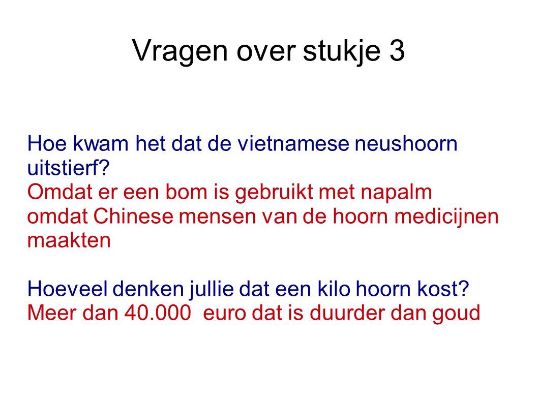 Vragen over stukje 3 Hoe kwam het dat de vietnamese neushoorn uitstierf Omdat er een bom is gebruikt met napalm.