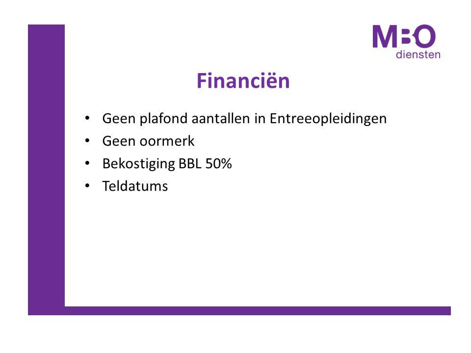 Financiën Geen plafond aantallen in Entreeopleidingen Geen oormerk