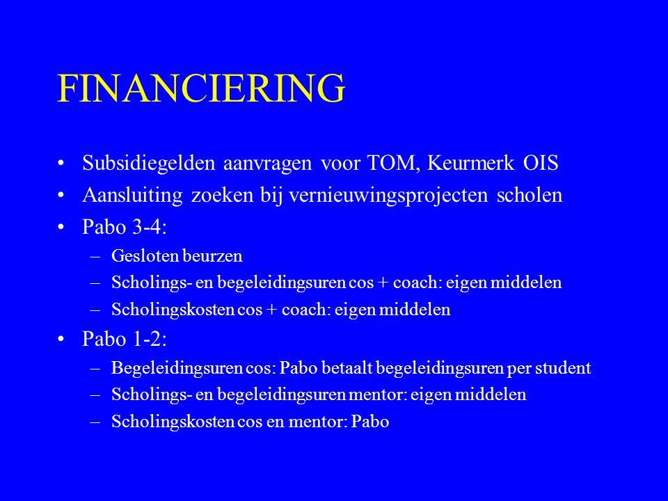FINANCIERING Subsidiegelden aanvragen voor TOM, Keurmerk OIS