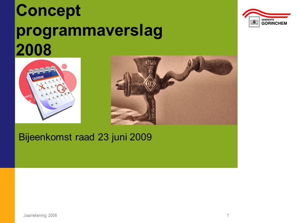 Concept programmaverslag 2008 Bijeenkomst raad 23 juni 2009