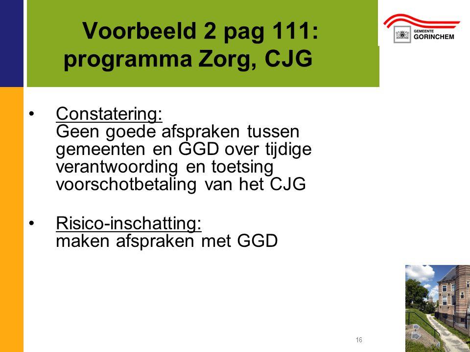 Voorbeeld 2 pag 111: programma Zorg, CJG