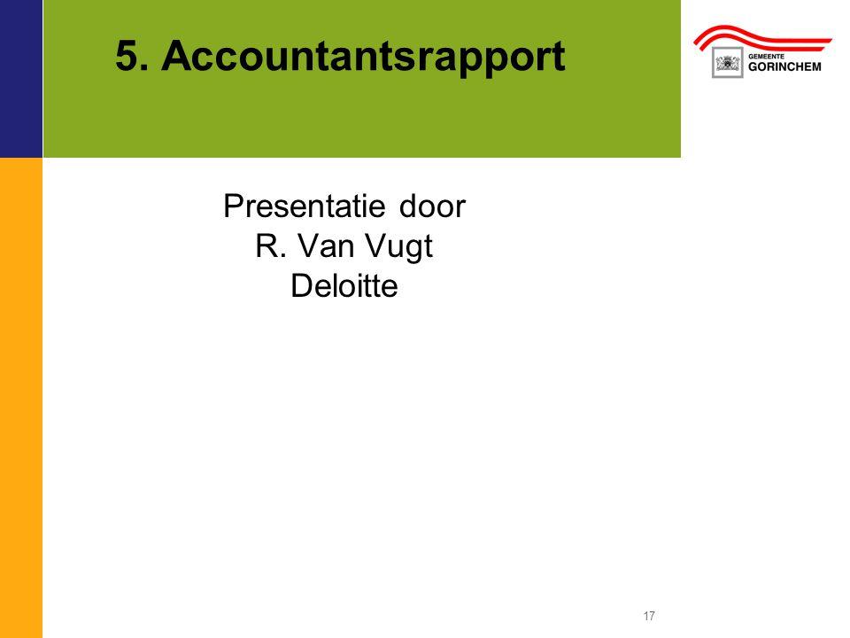 5. Accountantsrapport Presentatie door R. Van Vugt Deloitte
