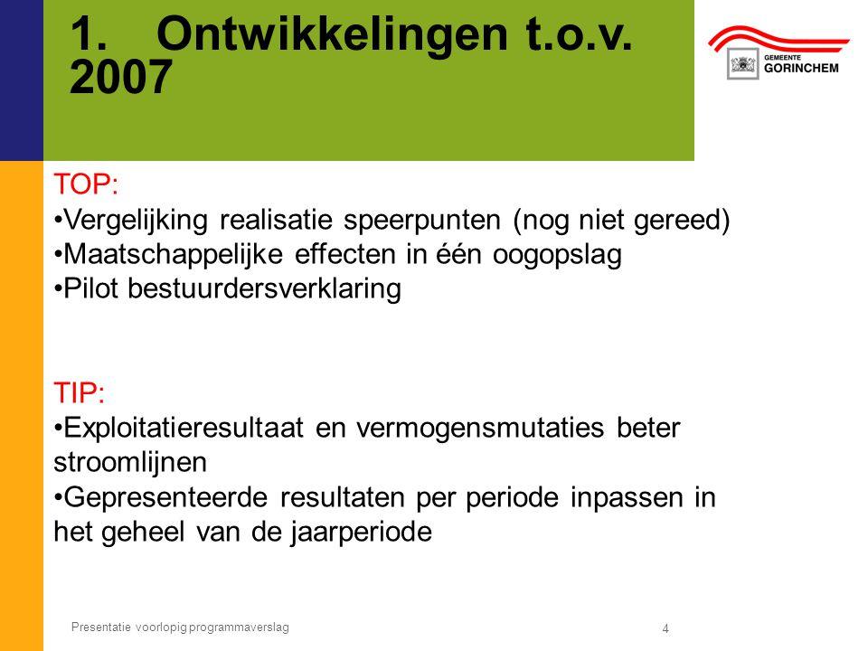 1. Ontwikkelingen t.o.v. 2007 TOP: