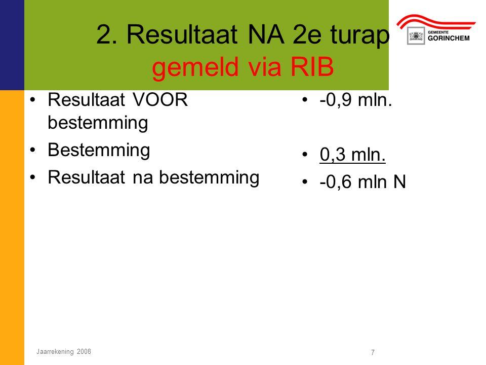 2. Resultaat NA 2e turap gemeld via RIB