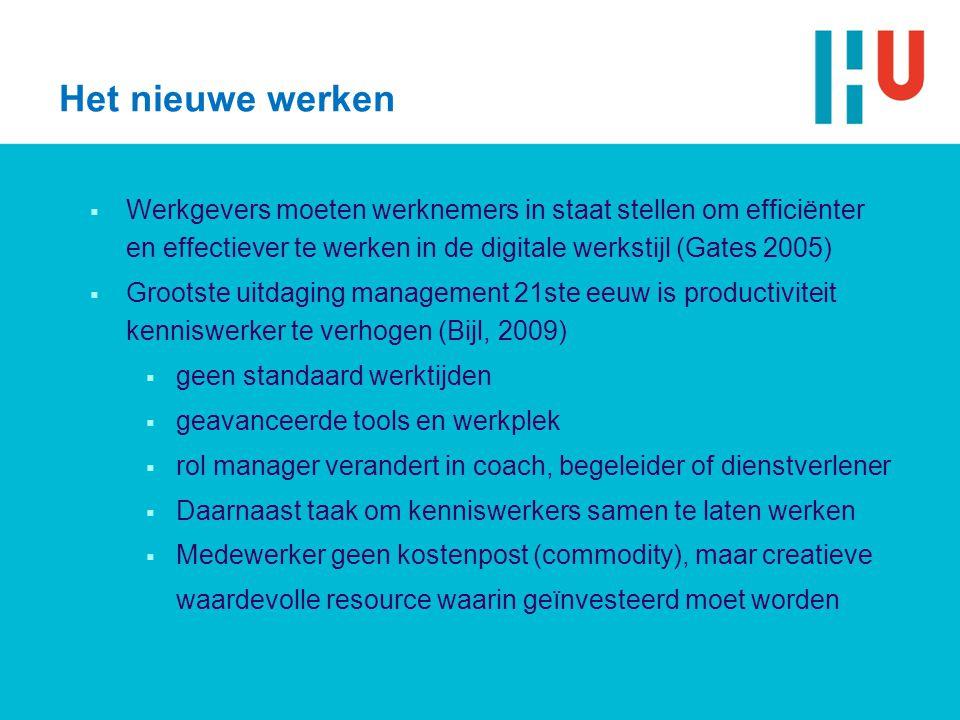 Het nieuwe werken Werkgevers moeten werknemers in staat stellen om efficiënter en effectiever te werken in de digitale werkstijl (Gates 2005)