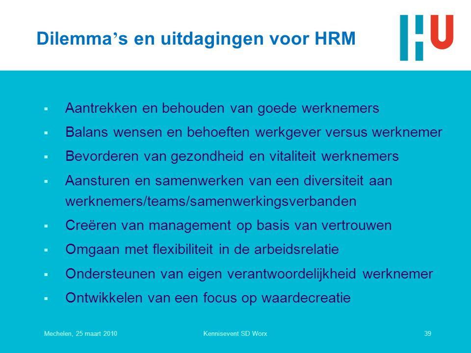Dilemma's en uitdagingen voor HRM