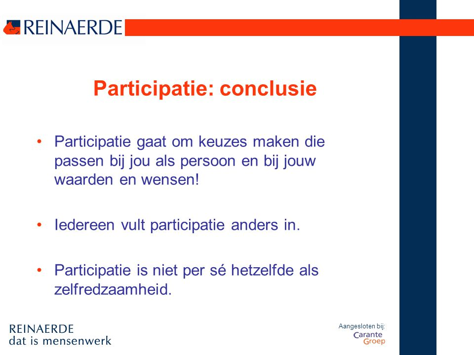Participatie: conclusie