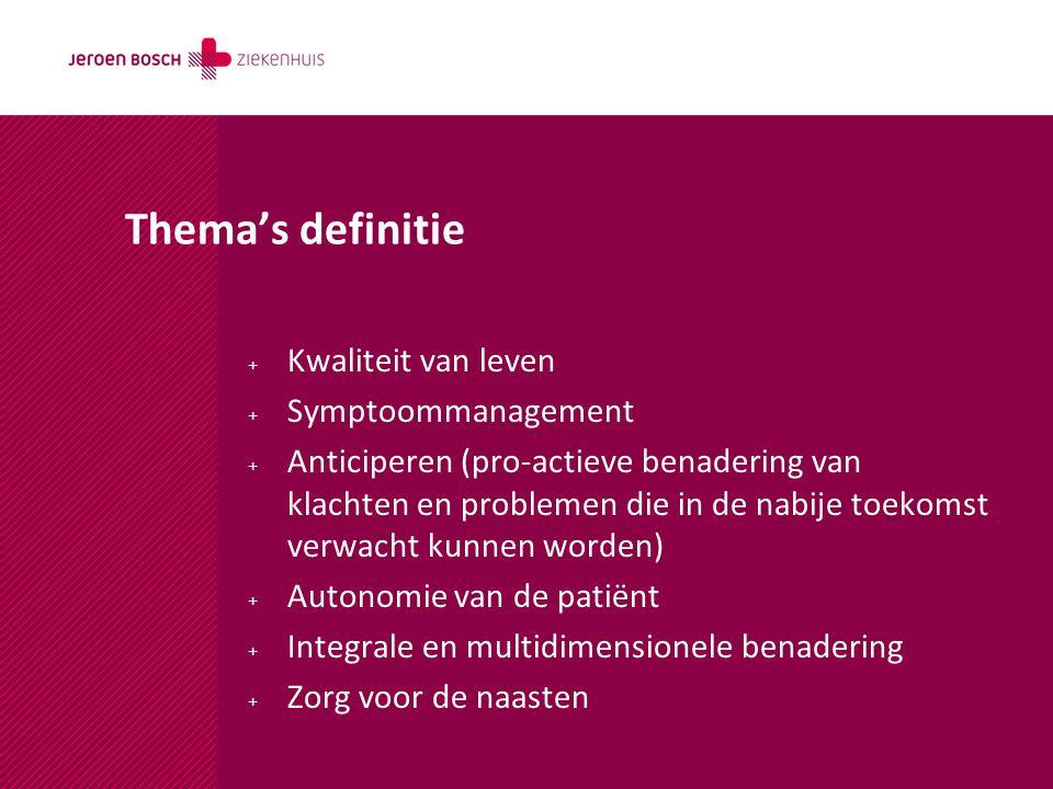 Thema's definitie Kwaliteit van leven Symptoommanagement