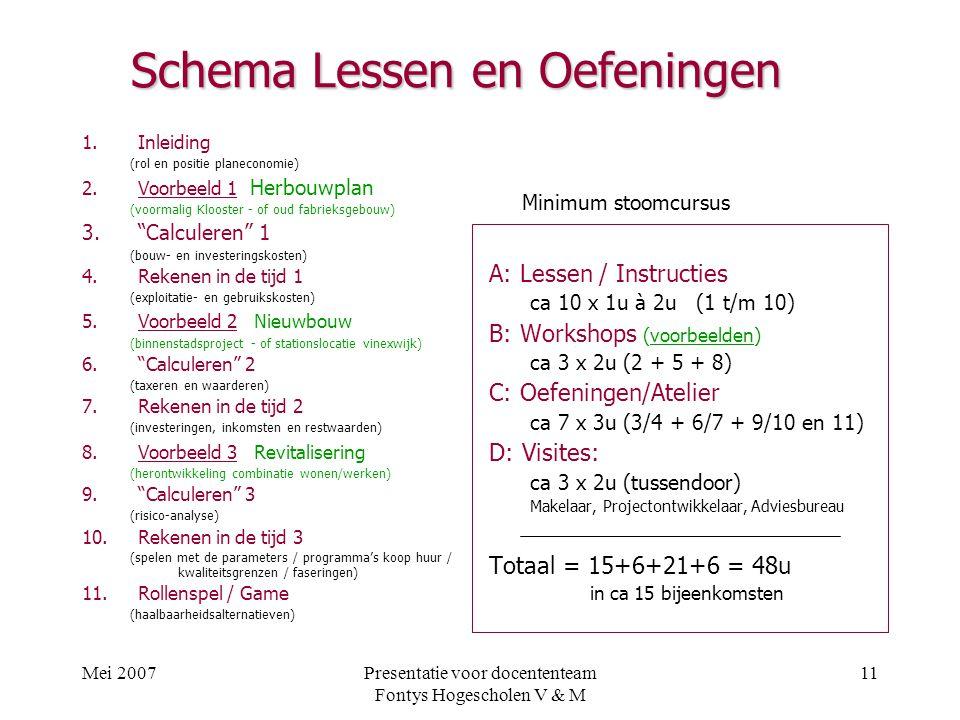 Schema Lessen en Oefeningen