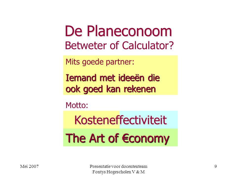 De Planeconoom Kosteneffectiviteit The Art of €conomy