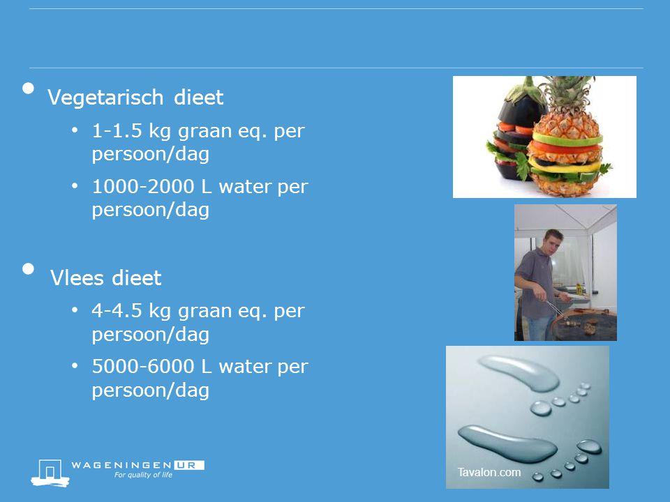 Vegetarisch dieet Vlees dieet 1-1.5 kg graan eq. per persoon/dag