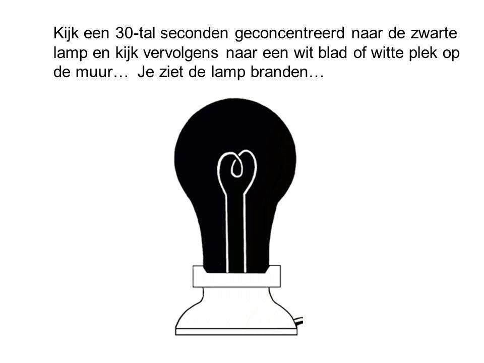 Kijk een 30-tal seconden geconcentreerd naar de zwarte lamp en kijk vervolgens naar een wit blad of witte plek op de muur… Je ziet de lamp branden…