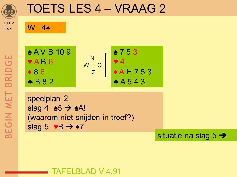 TOETS LES 4 – VRAAG 2 W 4♠ ♠ A V B 10 9 ♥ A B 6 ♦ 8 6 ♣ B 8 2 ♠ 7 5 3