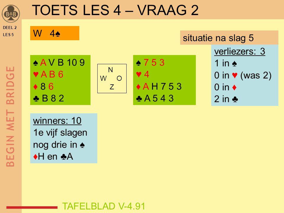 TOETS LES 4 – VRAAG 2 W 4♠ situatie na slag 5 verliezers: 3 1 in ♠