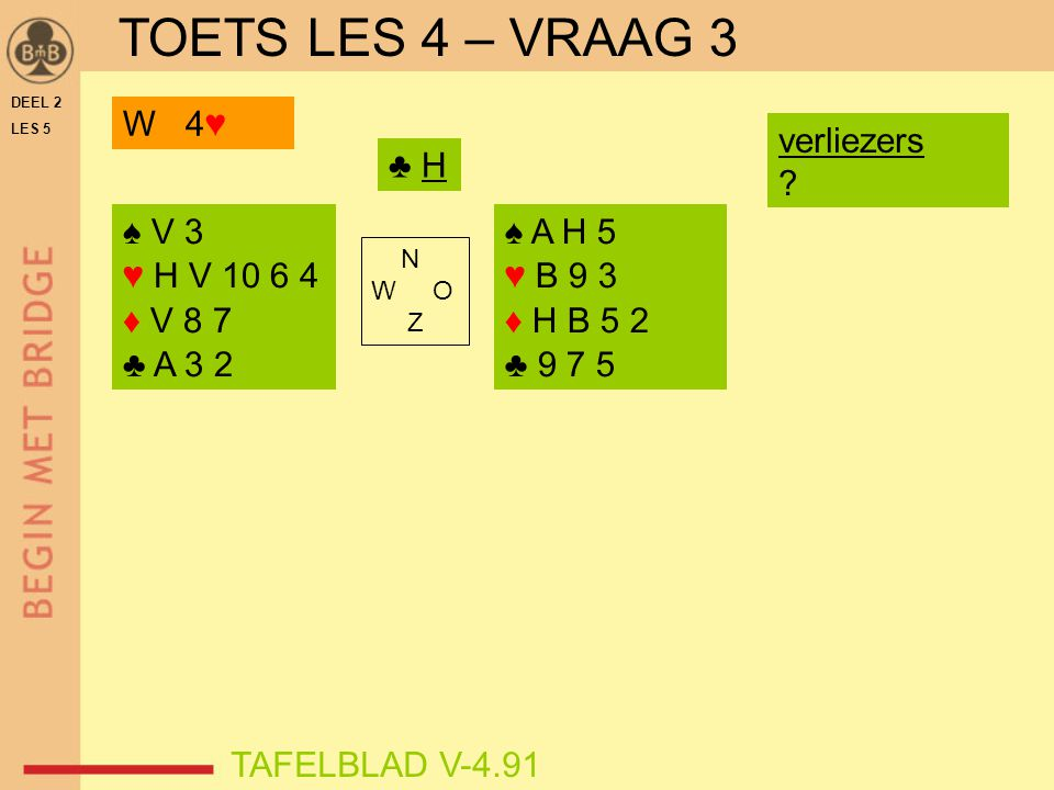TOETS LES 4 – VRAAG 3 W 4♥ verliezers ♣ H ♠ V 3 ♥ H V 10 6 4 ♦ V 8 7