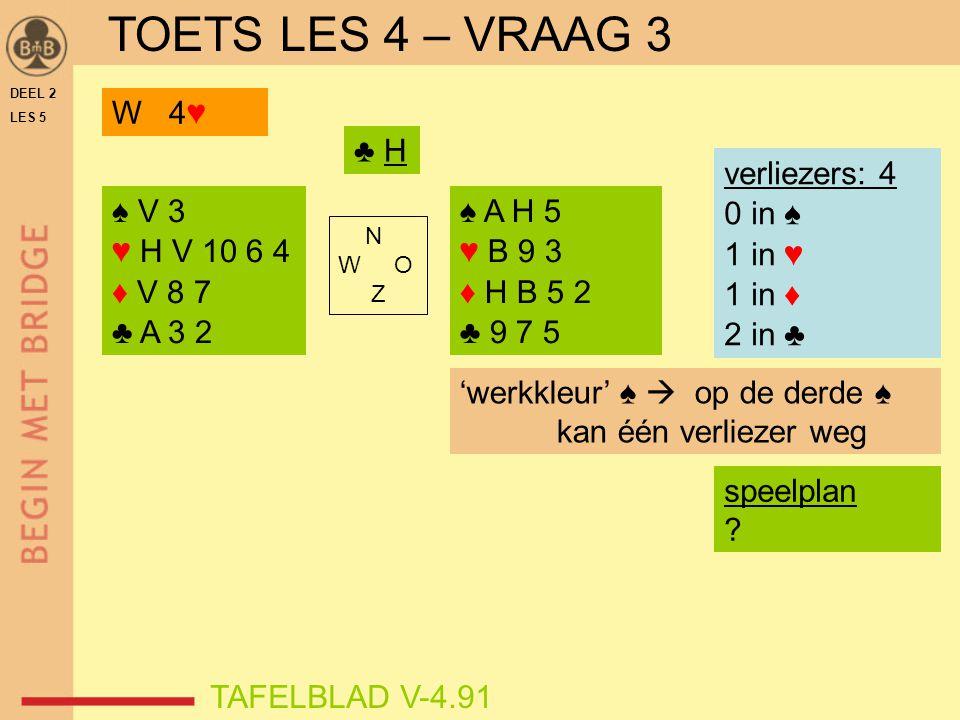 TOETS LES 4 – VRAAG 3 W 4♥ ♣ H verliezers: 4 0 in ♠ 1 in ♥ 1 in ♦