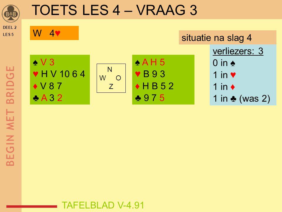 TOETS LES 4 – VRAAG 3 W 4♥ situatie na slag 4 verliezers: 3 0 in ♠