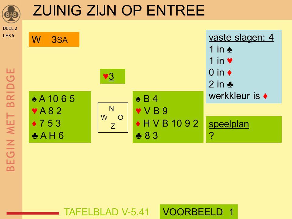 ZUINIG ZIJN OP ENTREE vaste slagen: 4 1 in ♠ 1 in ♥ 0 in ♦ 2 in ♣