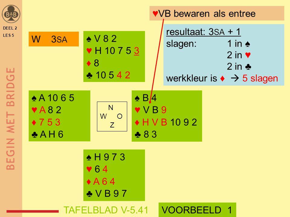 ♥VB bewaren als entree resultaat: 3SA + 1 slagen: 1 in ♠ 2 in ♥ 2 in ♣