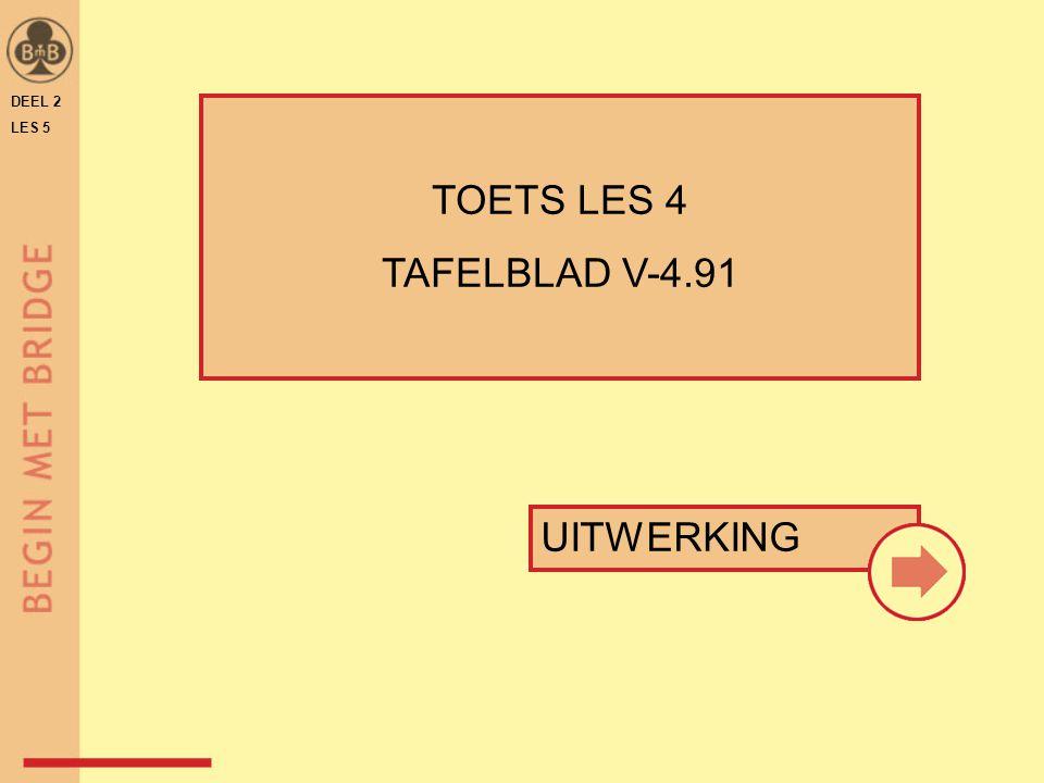 DEEL 2 LES 5 TOETS LES 4 TAFELBLAD V-4.91 UITWERKING