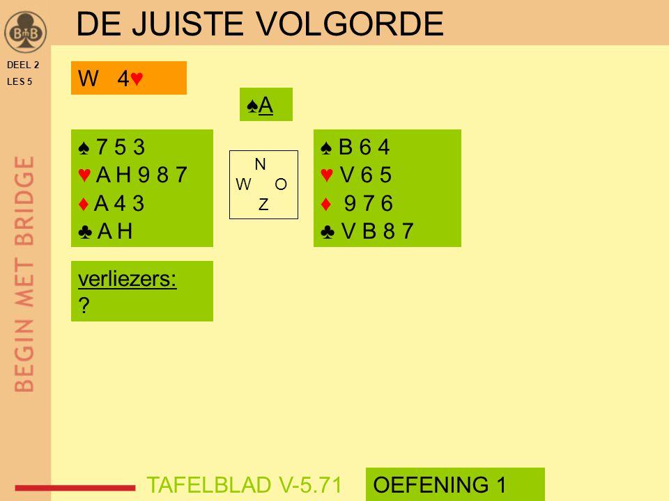 DE JUISTE VOLGORDE W 4♥ ♠A ♠ 7 5 3 ♥ A H 9 8 7 ♦ A 4 3 ♣ A H ♠ B 6 4