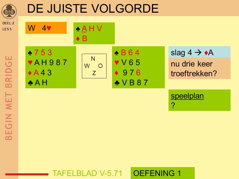 DE JUISTE VOLGORDE W 4♥ ♠ A H V ♦ B ♠ 7 5 3 ♥ A H 9 8 7 ♦ A 4 3 ♣ A H