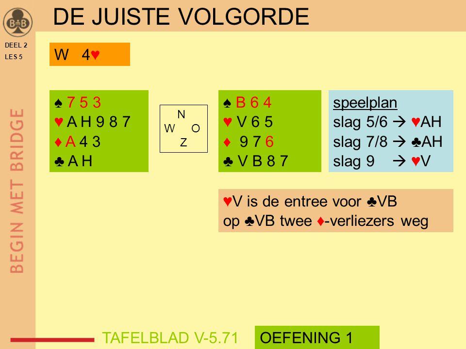 DE JUISTE VOLGORDE W 4♥ ♠ 7 5 3 ♥ A H 9 8 7 ♦ A 4 3 ♣ A H ♠ B 6 4