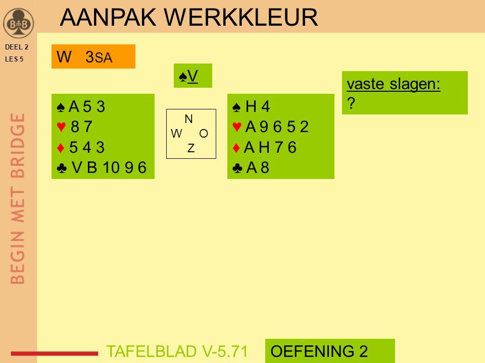 AANPAK WERKKLEUR W 3SA ♠V vaste slagen: ♠ A 5 3 ♥ 8 7 ♦ 5 4 3