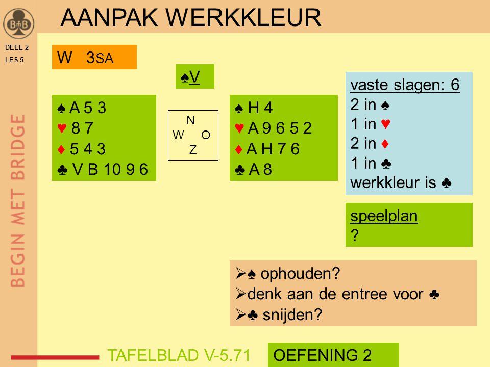 AANPAK WERKKLEUR W 3SA ♠V vaste slagen: 6 2 in ♠ 1 in ♥ 2 in ♦ 1 in ♣
