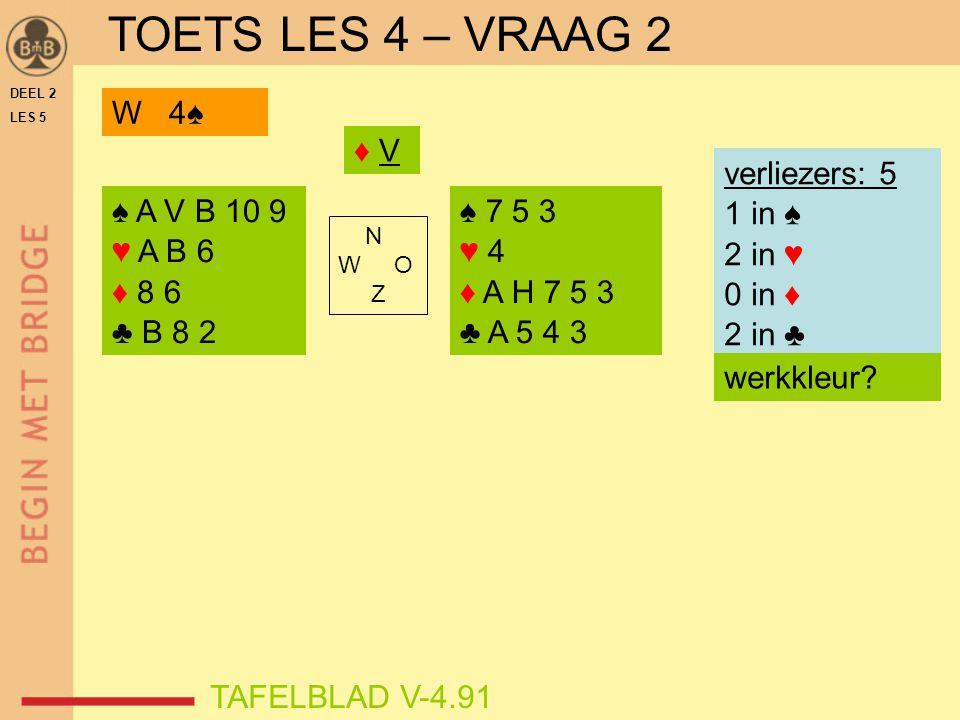 TOETS LES 4 – VRAAG 2 W 4♠ ♦ V verliezers: 5 1 in ♠ 2 in ♥ 0 in ♦