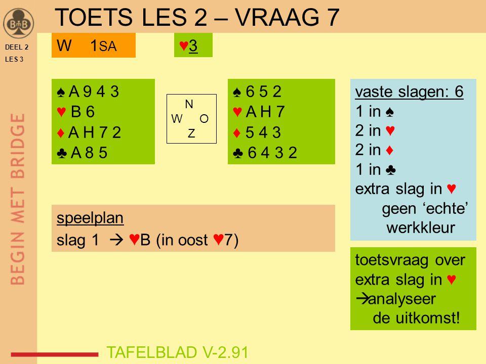 TOETS LES 2 – VRAAG 7 W 1SA ♥3 ♠ A 9 4 3 ♥ B 6 ♦ A H 7 2 ♣ A 8 5