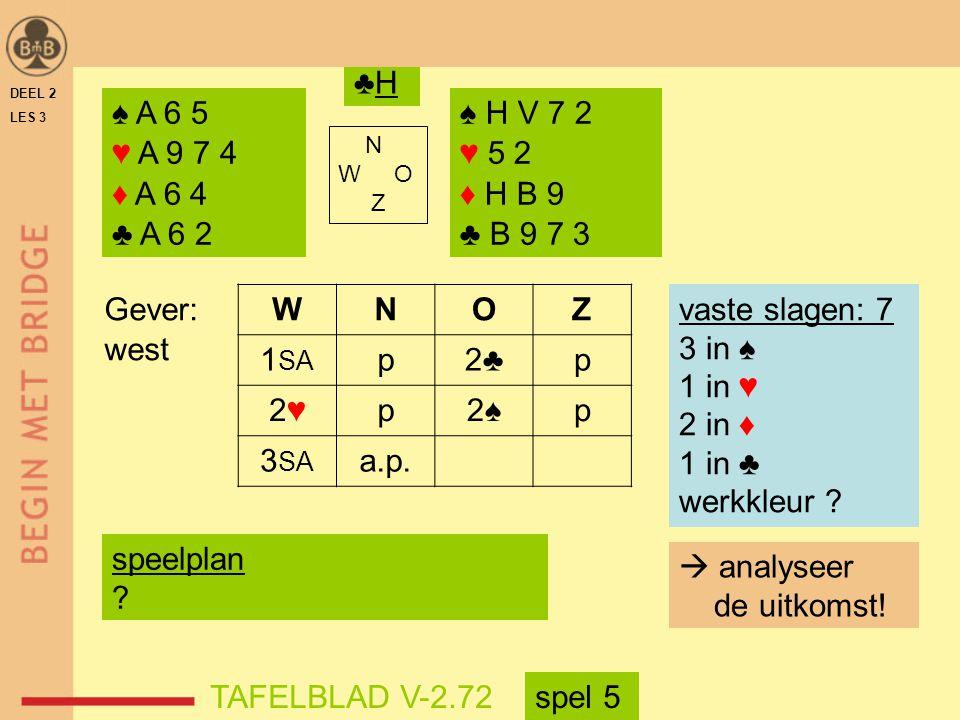 ♣H DEEL 2. LES 3. ♠ A 6 5. ♥ A 9 7 4. ♦ A 6 4. ♣ A 6 2. ♠ H V 7 2. ♥ 5 2. ♦ H B 9. ♣ B 9 7 3.