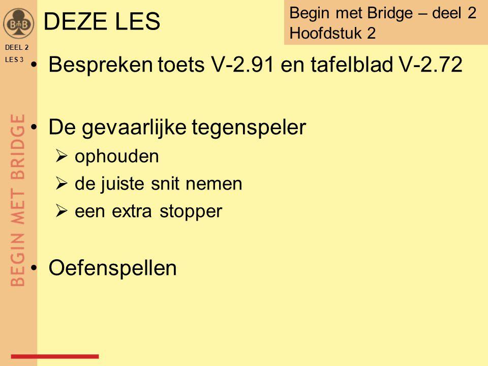 DEZE LES Bespreken toets V-2.91 en tafelblad V-2.72