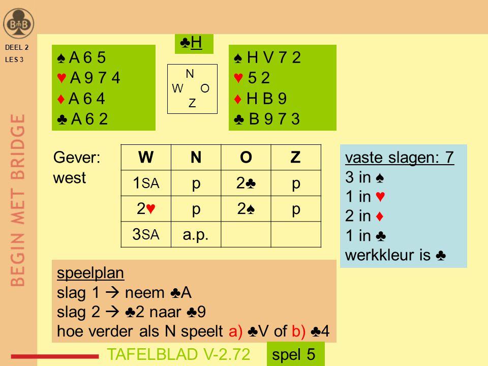 hoe verder als N speelt a) ♣V of b) ♣4