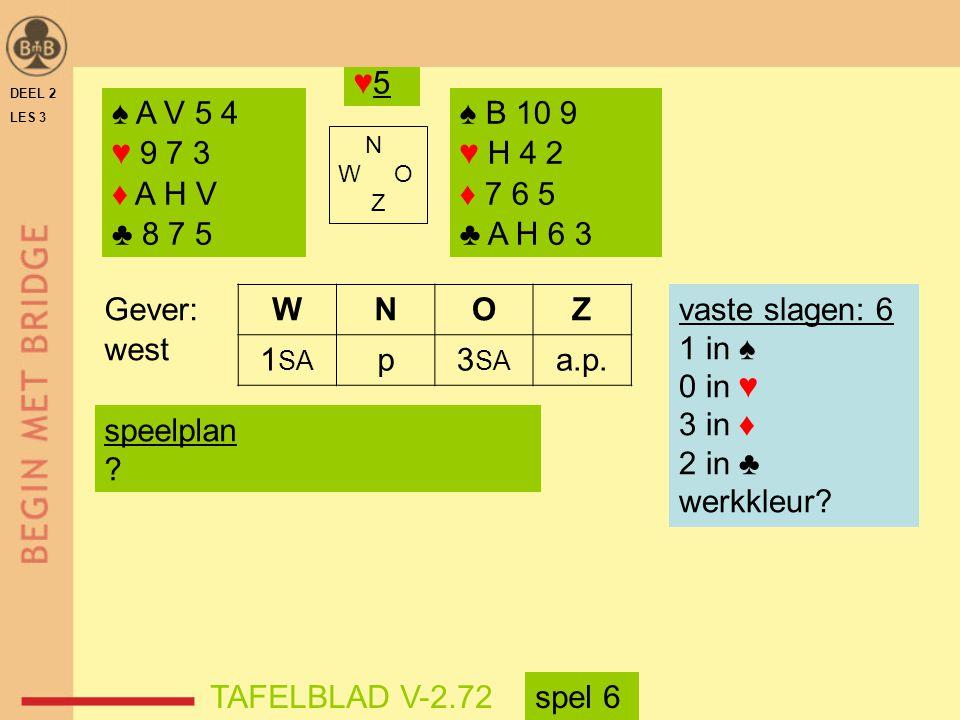 ♥5 DEEL 2. LES 3. ♠ A V 5 4. ♥ 9 7 3. ♦ A H V. ♣ 8 7 5. ♠ B 10 9. ♥ H 4 2. ♦ 7 6 5. ♣ A H 6 3.