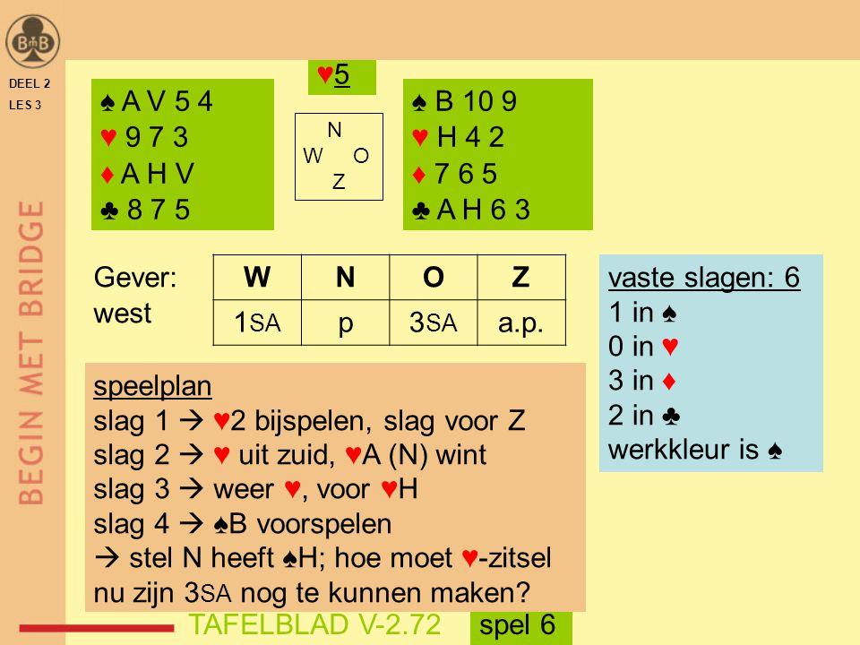 slag 1  ♥2 bijspelen, slag voor Z slag 2  ♥ uit zuid, ♥A (N) wint