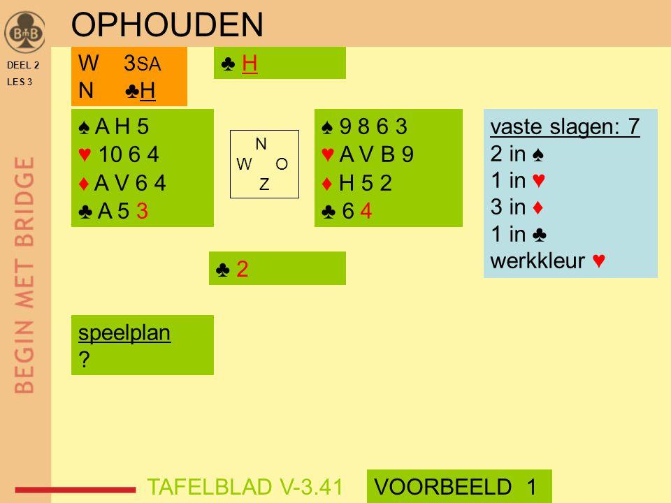 OPHOUDEN W 3SA N ♣H ♣ H ♠ A H 5 ♥ 10 6 4 ♦ A V 6 4 ♣ A 5 3 ♠ 9 8 6 3