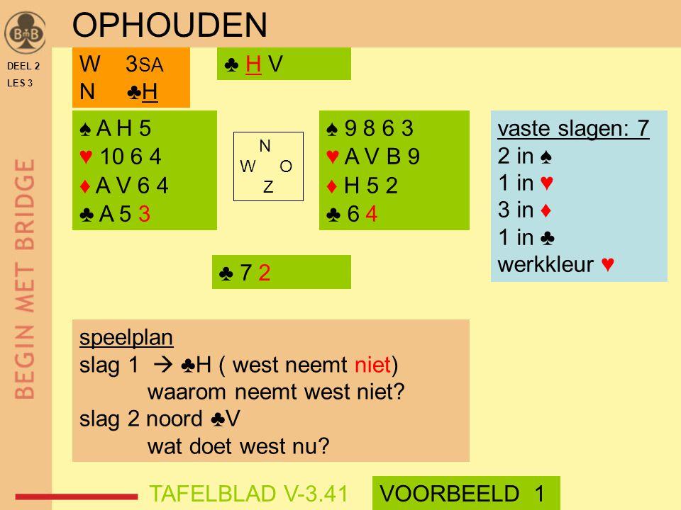 OPHOUDEN W 3SA N ♣H ♣ H V ♠ A H 5 ♥ 10 6 4 ♦ A V 6 4 ♣ A 5 3 ♠ 9 8 6 3
