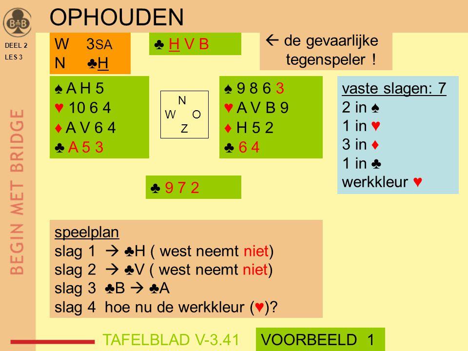 OPHOUDEN  de gevaarlijke tegenspeler ! W 3SA N ♣H ♣ H V B ♠ A H 5