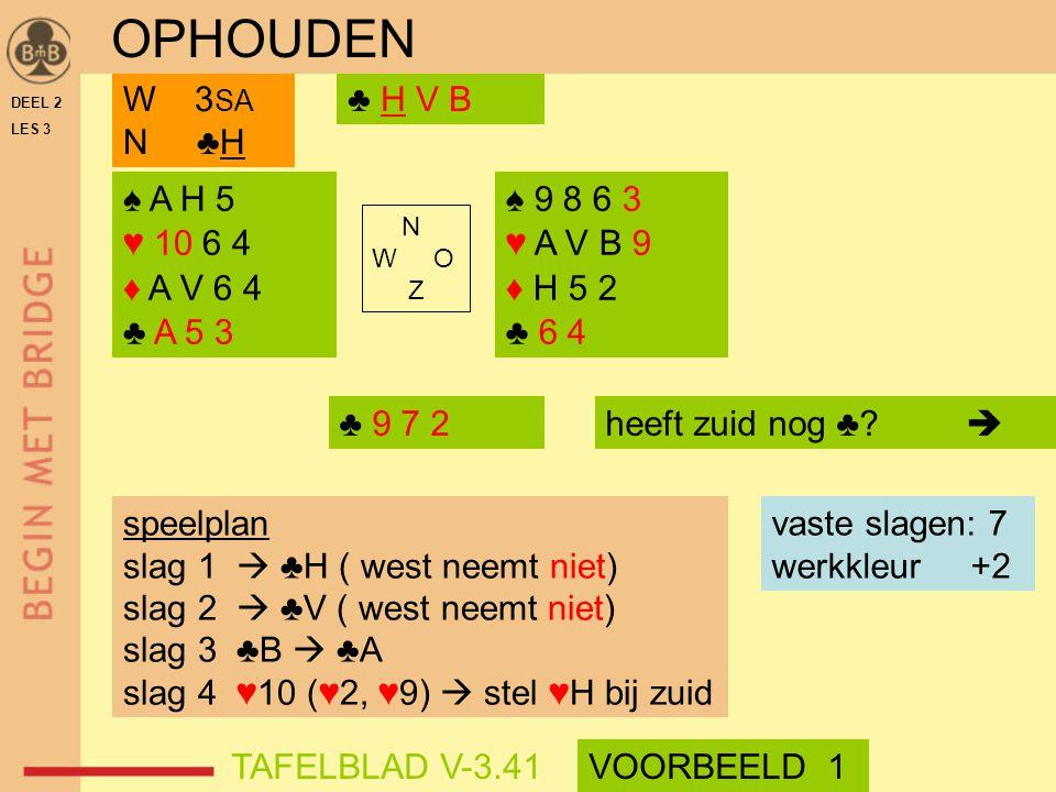 OPHOUDEN W 3SA N ♣H ♣ H V B ♠ A H 5 ♥ 10 6 4 ♦ A V 6 4 ♣ A 5 3