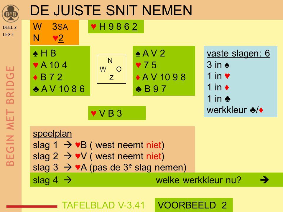 DE JUISTE SNIT NEMEN W 3SA N ♥2 ♥ H 9 8 6 2 ♠ H B ♥ A 10 4 ♦ B 7 2