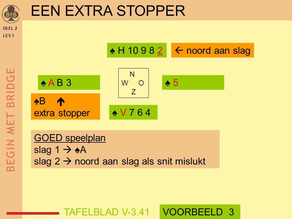 EEN EXTRA STOPPER ♠ H 10 9 8 2  noord aan slag ♠ A B 3 ♠ 5 ♠B 