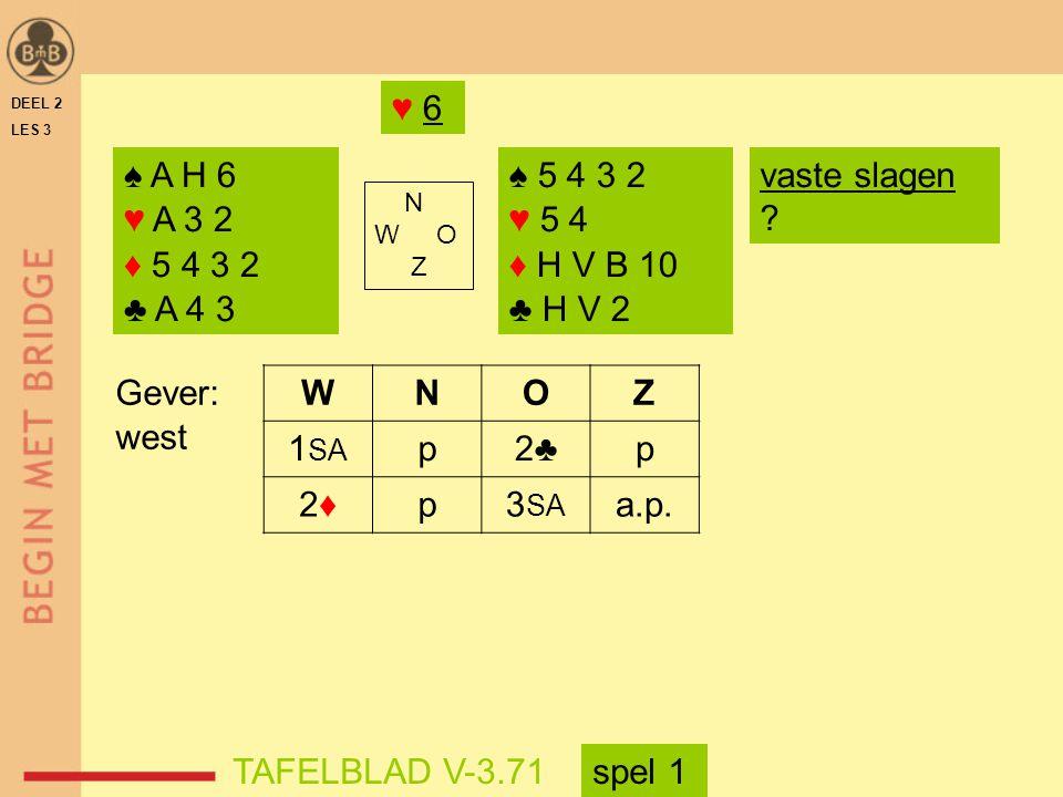 ♥ 6 DEEL 2. LES 3. ♠ A H 6. ♥ A 3 2. ♦ 5 4 3 2. ♣ A 4 3. ♠ 5 4 3 2. ♥ 5 4. ♦ H V B 10. ♣ H V 2.
