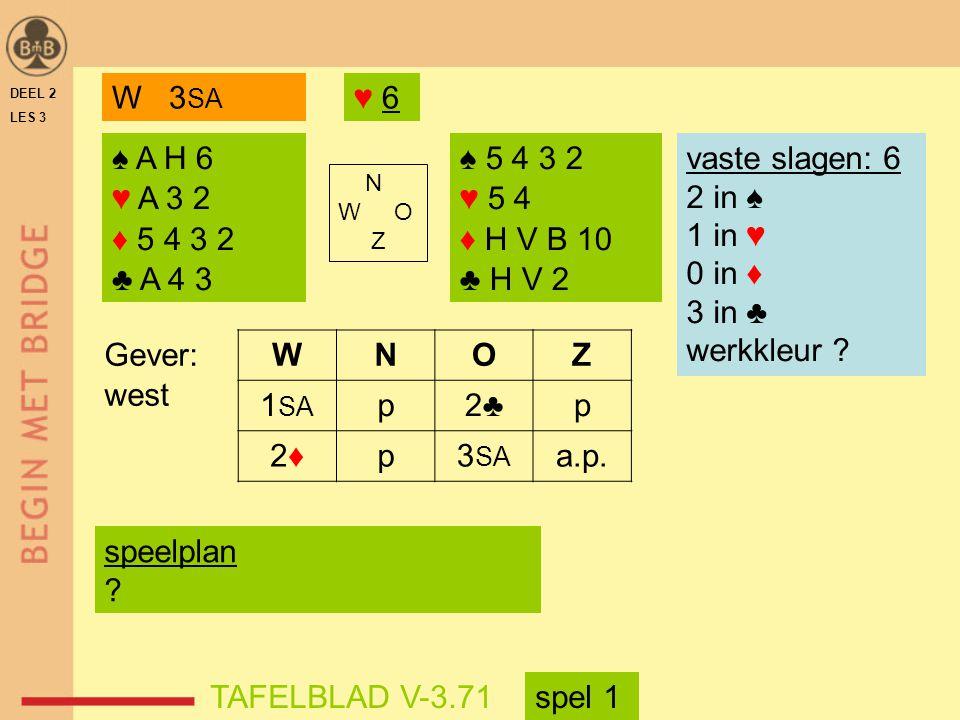 W 3SA ♥ 6. DEEL 2. LES 3. ♠ A H 6. ♥ A 3 2. ♦ 5 4 3 2. ♣ A 4 3. ♠ 5 4 3 2. ♥ 5 4. ♦ H V B 10.
