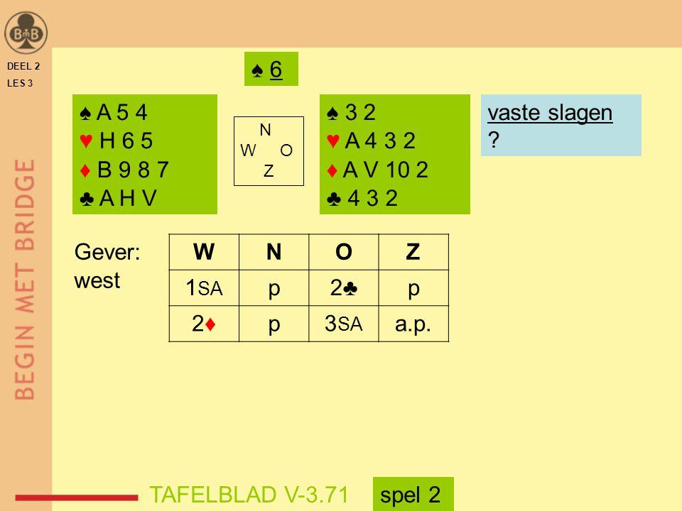 ♠ 6 DEEL 2. LES 3. ♠ A 5 4. ♥ H 6 5. ♦ B 9 8 7. ♣ A H V. ♠ 3 2. ♥ A 4 3 2. ♦ A V 10 2. ♣ 4 3 2.