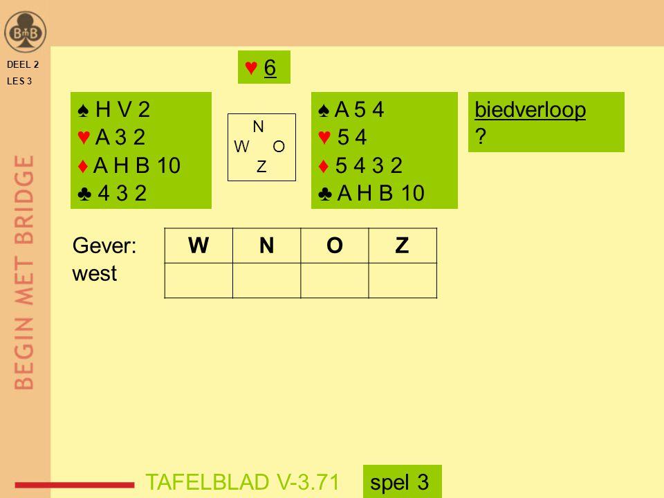 ♥ 6 DEEL 2. LES 3. ♠ H V 2. ♥ A 3 2. ♦ A H B 10. ♣ 4 3 2. ♠ A 5 4. ♥ 5 4. ♦ 5 4 3 2. ♣ A H B 10.