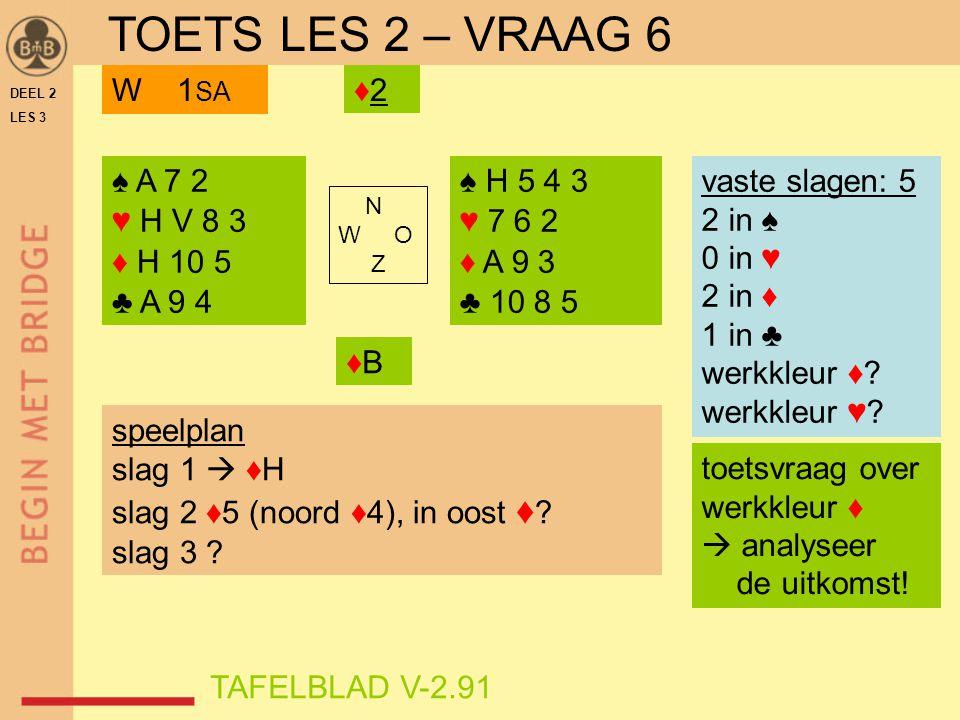 TOETS LES 2 – VRAAG 6 W 1SA ♦2 ♠ A 7 2 ♥ H V 8 3 ♦ H 10 5 ♣ A 9 4