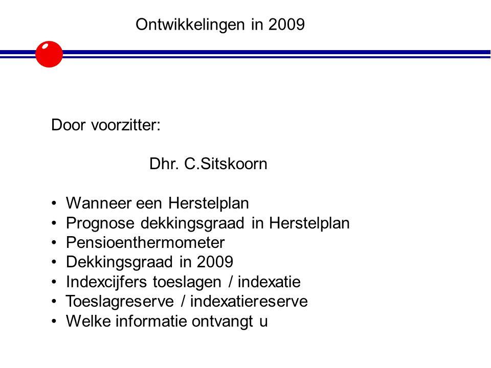 Ontwikkelingen in 2009 Door voorzitter: Dhr. C.Sitskoorn. Wanneer een Herstelplan. Prognose dekkingsgraad in Herstelplan.
