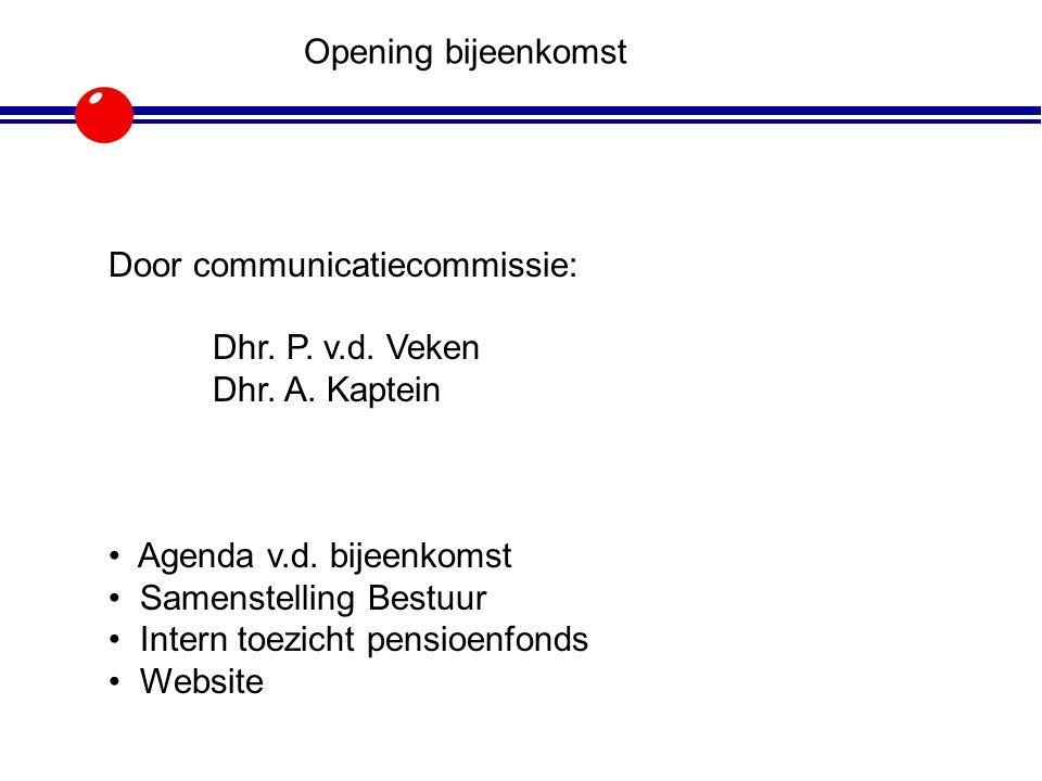 Opening bijeenkomst Door communicatiecommissie: Dhr. P. v.d. Veken. Dhr. A. Kaptein. Agenda v.d. bijeenkomst.